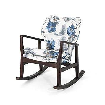 Christopher Knight Home 306102 Balen Mid Century Modern Upholstered Rocking Chair, Print, Dark Espresso
