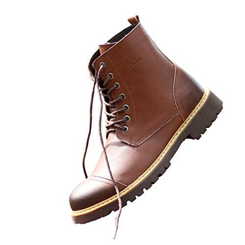 Sol Florence Män Höga Topplocket Tå Spets-up Perforerade Oxford Läder Boots Brun