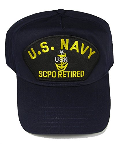 U S NAVY SCPO RETIRED with SENIOR CHIEF ANCHOR HAT - Navy Blue - Veteran Owned Business (Anchor Chief Senior)