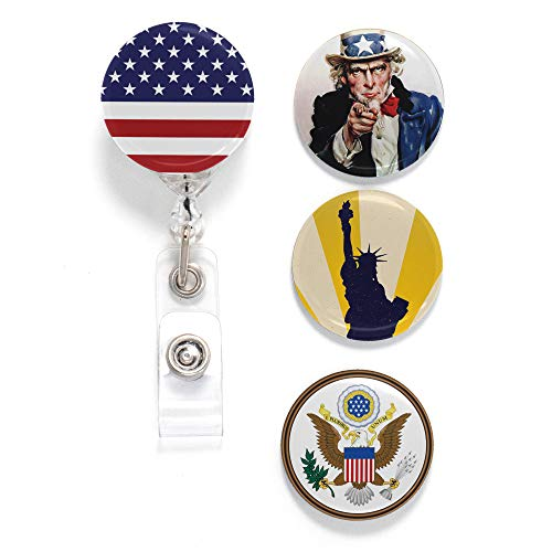 (Buttonsmith Uncle Sam Tinker Reel Retractable Badge Reel - with Alligator Clip and Extra-Long 36 inch Standard Duty Cord - Made in The USA )