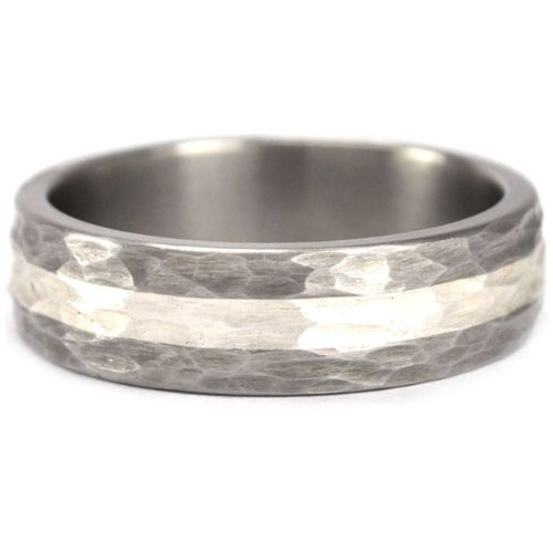 6 mm Titanium Ring with a Sterling Silver Inlay and a Hammered Finish