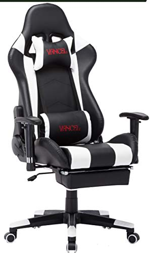 Ergonomic Computer Gaming Chair, PU Leather High-Back Office Racing Chair with Widen Thicken Cushion and Retractable Footrest Lumbar Massage Support PC Chair (Black&White)