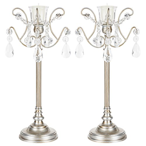 Amalfi Décor Tiffany 2-Piece Vintage Silver Metal Candelabra Set, Votive Candle Taper Candlestick Holder Accent Stand Antique Silver Candelabra