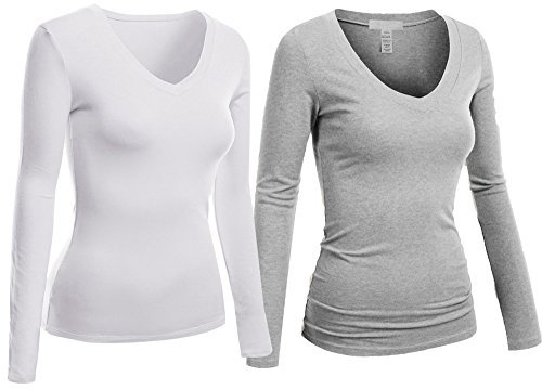 Hollywood Star Fashion Women's Long Sleeve V-Neck Tee Tank Top Shirt, 2 Pack - White, H Gray, XX-Large