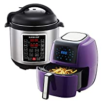 GoWISE USA 3.7-Quart 8-in-1 Digital Touchscreen Air Fryer (Plum, GW22943) + Recipe Book AND GoWISE USA 8-Quart 10-in-1 Electric Pressure Cooker (Stainless Steel, GW22623) + Recipe Book