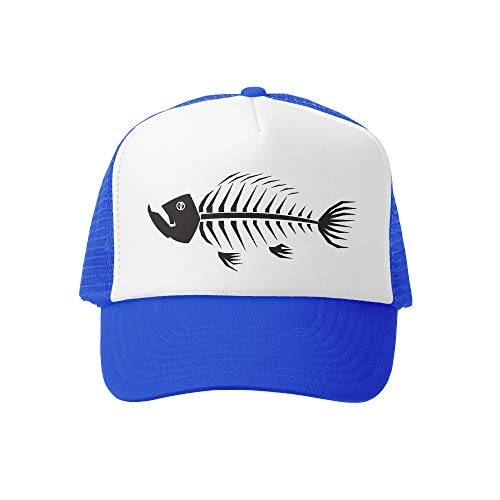 Grom Squad Kids Trucker Hat - Mesh Adjustable Baseball Cap for Boys & Girls - Baby, Infant, Toddler, School-Age Sizes (0-2yrs (Mini), Fish Bones 2.0
