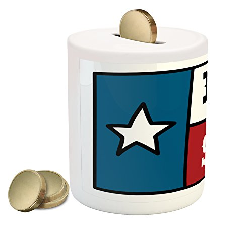 Cheap  Texas Star Coin Box Bank by Ambesonne, Lone Star Flag United States..