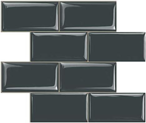 Stick on Tiles Kitchen Backsplash STICKGOO White Subway Tiles Peel and Stick Backsplash Pack of 10, Thicker Design