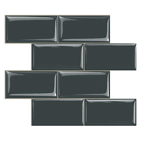 STICKGOO Peel and Stick Subway Tile, Stick on Tiles Backsplash for Kitchen & Bathroom in Dark Grey (Pack of 10, Thicker Design) ()