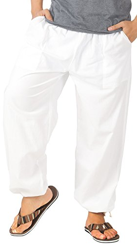 CandyHusky Men Casual Lounge Jogging Workout Yoga Pants Elastic Waist Drawstring (3XL/4XL, White)