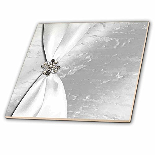 3dRose White Satin Ribbon with Jewel on Silver Glass Tile, 12 Inch