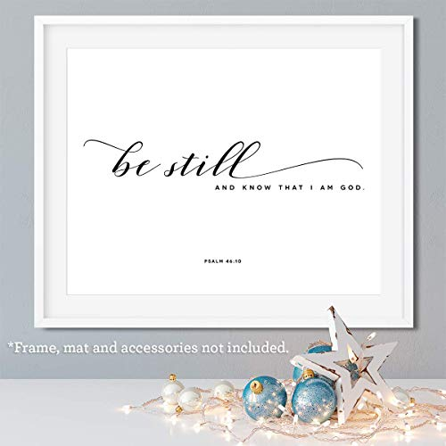 Be still and know that I am God - 14x11 Unframed Art Print, Bible Verse Wall Art, Winter Decor, Minimalist Home Decor, Nursery Art - Gift for Christian, Makes a great holiday gift ()