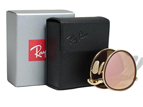 Ray Ban RB3517 Round 001/Z2 Gold Folding Pink Mirror Sunglasses - Ban Round Gold Pink Ray