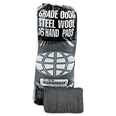GMT 117000 Industrial-Quality Steel Wool Hand Pad, Super Fine Grade 0000, 16-Pack (Case of 12), Coating, Cut, Cutting Angle, Flute,