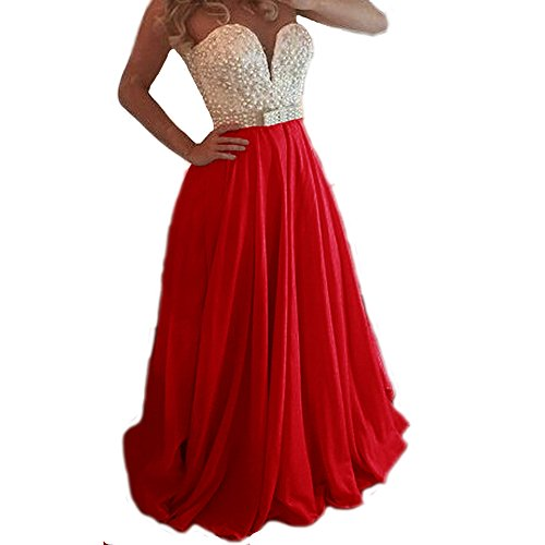 CuteShe Women's Long Chiffon Prom Evening Dresses Bridesmaid Dresses red US Size 26