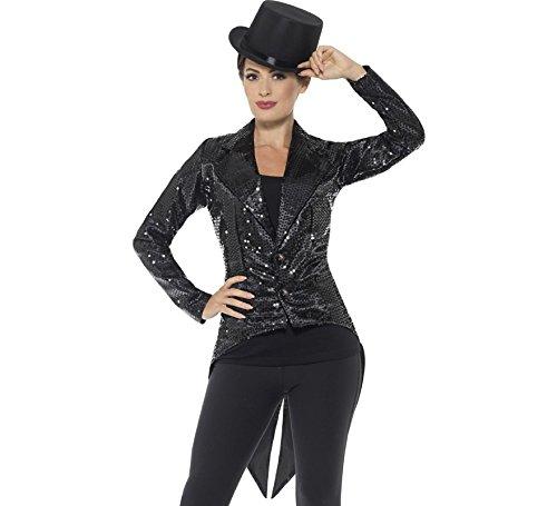Ladies Tuxedo - Smiffys Women's Sequin Tailcoat Jacket, Ladies, Black, Large