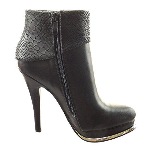 Sopily - Zapatillas de Moda Botines zapatillas de plataforma Tobillo mujer piel de serpiente metálico Talón Tacón ancho alto 12.5 CM - plantilla sintética - forradas en piel - Negro