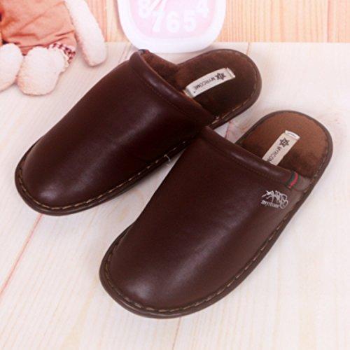Fankou pantofole uomini e donne matura Impermeabili di cotone pantofole pantofole ,43/44, marrone