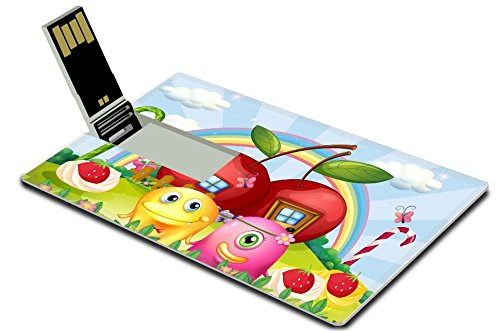 Luxlady 32GB USB Flash Drive 2.0 Memory Stick Credit Card Size Illustration of a hilltop with apple houses at the back of the couple monsters IMAGE 22575734