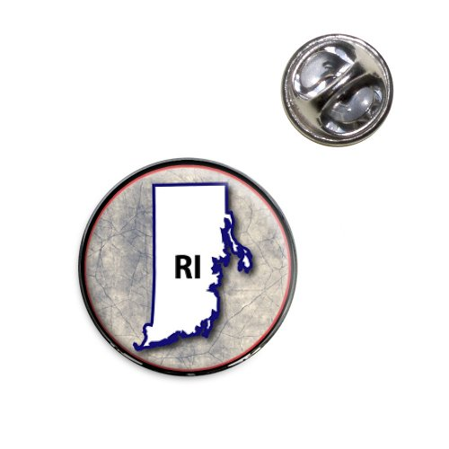 Rhode Island RI State Outline on Faded Blue Lapel Hat Tie Pin Tack (Pin Lapel Rhode Island)