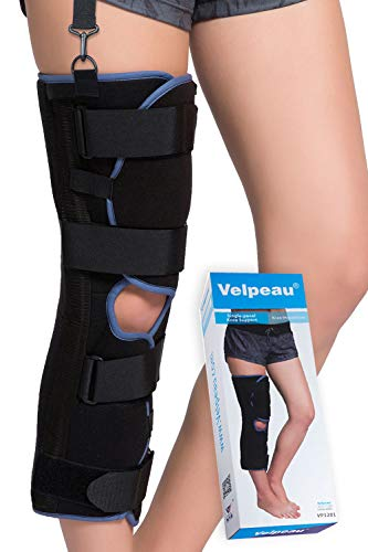 Velpeau Knee Immobilizer - Full Leg Brace - Straight Knee Splint - Comfort Rigid Support for Knee Pre-and Postoperative & Injury or Surgery Recovery (20