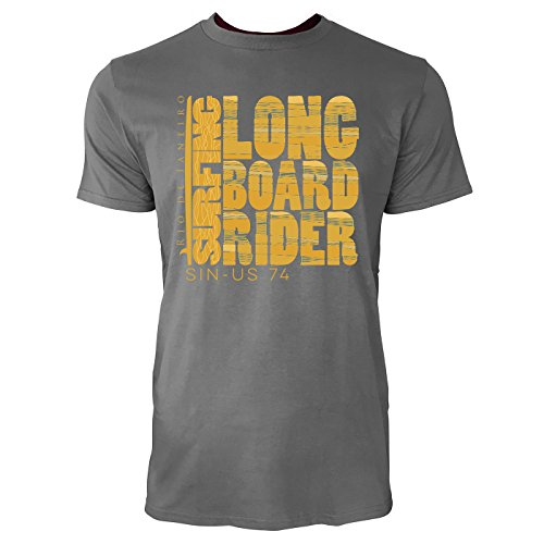 Sinus Art ® Herren T Shirt Long Surf Board Rider ( Charcoal ) Crewneck Tee with Frontartwork