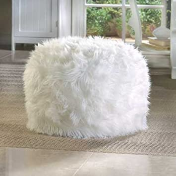 Brilliant Amazon Com White Round Ottoman Pouf For Living Rooms Foot Pdpeps Interior Chair Design Pdpepsorg