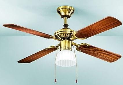 Plafoniere Con Pale : Ventilatore da soffitto con luce in metallo colore ottone brunito