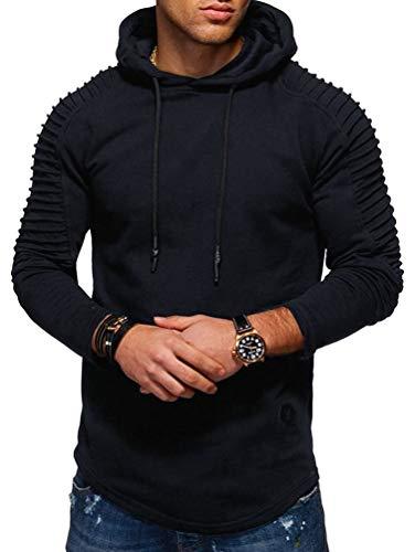 (Nicetage Fashion Men's Autumn Pleated Long Sleeve Slim Fit Raglan Drawstring Hoodies (HS80-Man Dark Blue L))