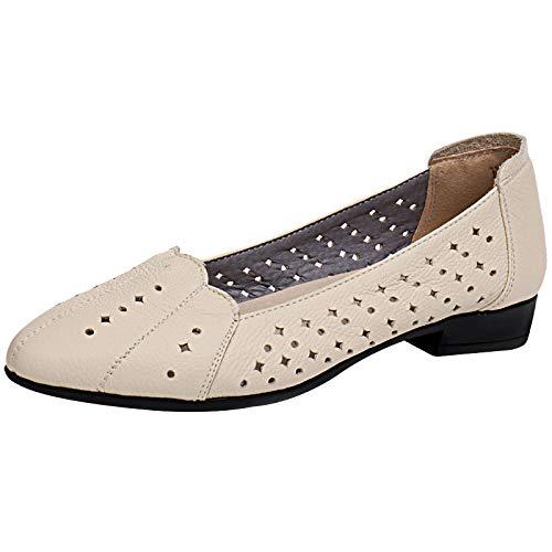 FLYRCX Zapatos de Suela Suave de Cuero Zapatos Planos cómodos Respirables Huecos Zapatos de Trabajo Zapatos de Mujer Embarazada creamy-white