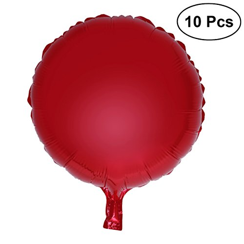 "(NUOLUX 10pcs Colorful Round Foil Balloons Party Mylar Balloons for Wedding Birthday Decoration,18"" (Red))"