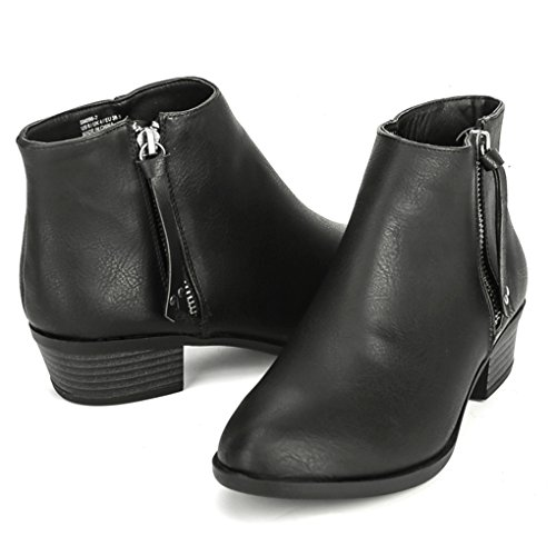 TESENMA Ankle Boots for Women, Chelsea Boot,Low Chunky Heels Comfortable Work Booties Zipper Black