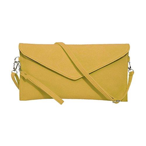 Jaune Jieway Women's épaule Faux sacs enveloppe messenger main Embrayage à Suede sac rP1qdwrxZ