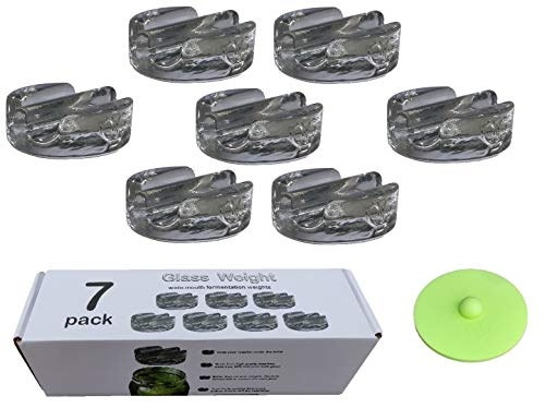 7 Pack fermentation weight. Heavy glass fermenting weights with handles for wide mouth Mason jars. Canning supplies. Great for fermenting vegetables and probiotic food.Dishwasher safe.Premium Present