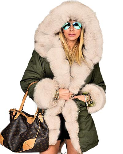 - Aofur Womens Hooded Faux Fur Lined Warm Coats Parkas Anoraks Outwear Winter Long Jackets (Large, Green_Beige Fur)
