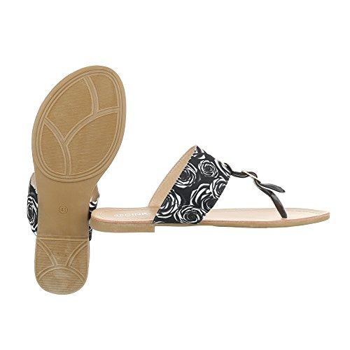 Ital-Design Zehentrenner Damenschuhe Peep-Toe Blockabsatz Zehentrenner Sandalen/Sandaletten Schwarz Weiß