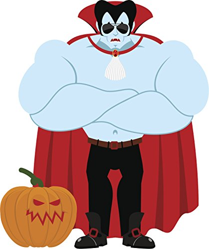 Big Buff Halloween Vampire Cartoon Vinyl Decal Sticker (12