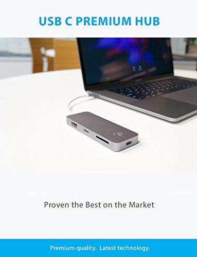 USB C Hub, CharJenPro Certified Adapter, 4K HDMI, USB 3.0, Micro/SD Card Reader, Power Delivery Apple MacBook Pro 2018, 2017, 2016, iMac Pro, Chromebook, XPS 13, Windows, Samsung S9, Space Gray by CharJenPro (Image #1)