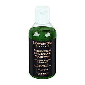 BIOAYURVEDA ANTI-BACTERIAL GERM DEFENSE MOUTH WASH | Ayurvedic Oral Rinse with Neem, Mint, Turmeric Tea Tree oil…