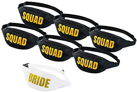 Set of 7 Bachelorette Fanny Packs 1 Bride Fanny Pack and 6 Squad Fanny Packs HSAS Creations