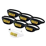 Set of 7 Bachelorette Fanny Packs- 1 Bride Fanny Pack and 6 Squad Fanny Packs