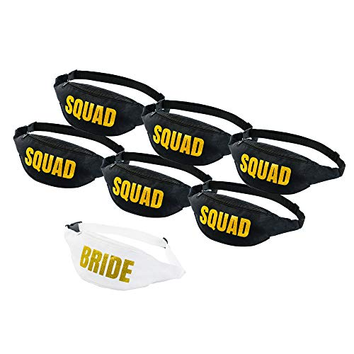 Set of 7 Bachelorette Fanny Packs- 1 Bride Fanny Pack and 6 Squad Fanny Packs -
