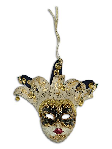 Magic of Venezia Venetian Mini Mask Ornament (Jolly Musica (Black)) ()