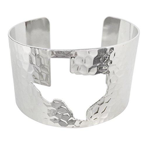 State Shape Map Cut-out Cuff Bracelet (Texas Silver (Texas Longhorns Beaded Bracelets)