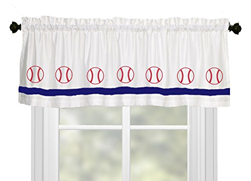 (Baseball Window Valance / Window Treatment - In Your Choice of Colors - Custom Made)