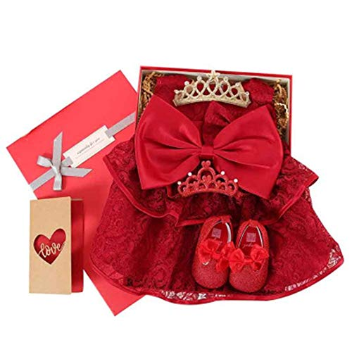 JKMXA Newborn Princess Dress Baby Gift Box, Gift High-end Baby Hundred Days Clothes Suit, Full Moon Suit, Women's Clothing, Red]()