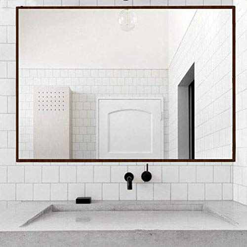 Elevens Modern Thin Walnut Frame Wall Mirror 26