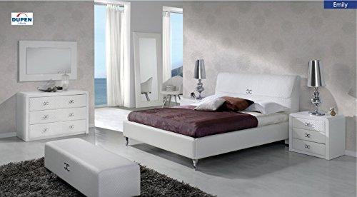 ESF Modern Emily 887 Pure White Eco Leather Queen Bedroom Set 5Pcs Made in Spain by ESF DUPEN