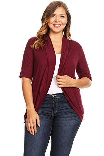 Bubble Draped - Bubble B Women's Plus Size Front Draped Collar Solid Cardigan Burgundy 2X