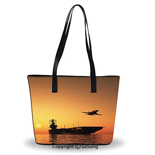 Women's Tote Shoulder Bag,Military Aircraft Jet and Armed Ship the Sea at - Correction Air Jet